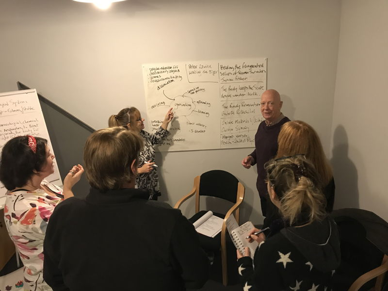 Group discussion around a white board
